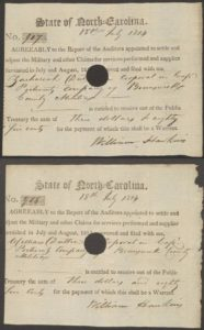 War of 1812 pay vouchers, Brunswick County, N.C.